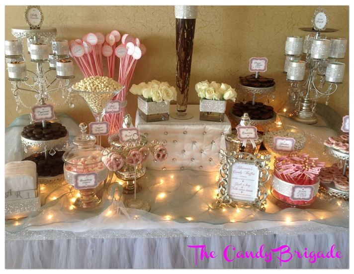pink white candy table christening in new york