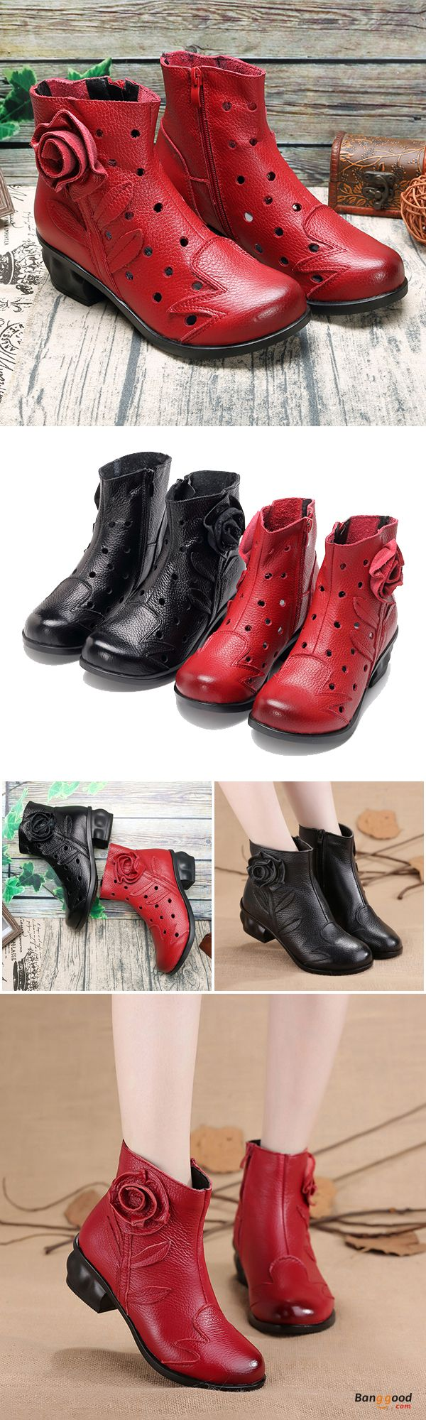 US$45.99 + Free shipping. Size: 5~9. Color: Black, Red. Fall in love with fashion and elegant style! SOCOFY Leather Handmade Flower Hollow Mid Heel Original Vintage Boots.