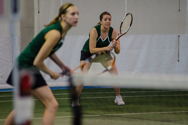 Senior Meg Hafdahl and sophomore Caley Westin prepare to receive a serve from the SCSU team during the No. 1 doubles match Feb. 16. View our entire photo gallery at: http://www.bsubeavers.com/wtennis/photos/2013/369/