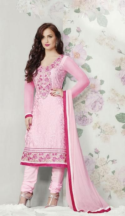 USD 48.74 Pink Flower Patch Work Party Wear Churidar Suit   40774