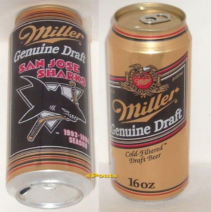 1993-94 SAN JOSE SHARKS BEER CAN CALIFORNIA NHL PRO ICE HOCKEY MILLER DRAFT PINT
