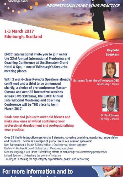 O profesjonalizmie w coachingu i mentoringu będziemy rozmawiać na forum międzynarodowym już 1 marca 2017 w Edynburgu. Serdecznie zapraszamy wszystkich zainteresowanych