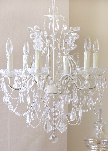 Nice chandelier for a luxurious bathroom feel: Lights Leafi, Crystal Chandeliers, Antiques White, Crystals Chandeliers, White Decor, White Chandelier, Master Bedrooms, White Crystals, Leafi Antiques