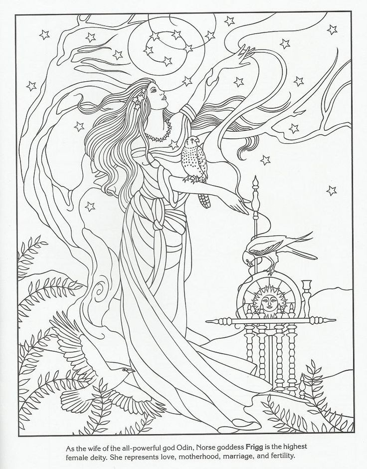 Goddess adult colouring Zentangles