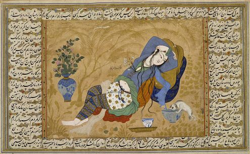 Painting of woman reclining with dog, c.1640, Iran, Isfahan, Safavid dynasty. The British museum, London