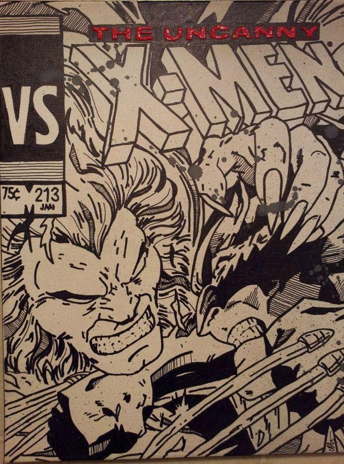 wolverine vs sabretooth painting