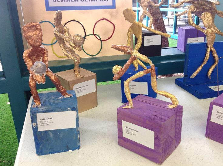 Olympic sports sculptures made with wire, plaster and foil