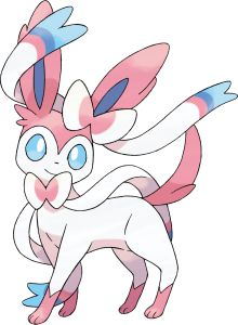 Sylveon. A new Eevee evolution that is confirmed to be a new type, FAIRY type. FAIRY types are super-effective against DRAGON types.