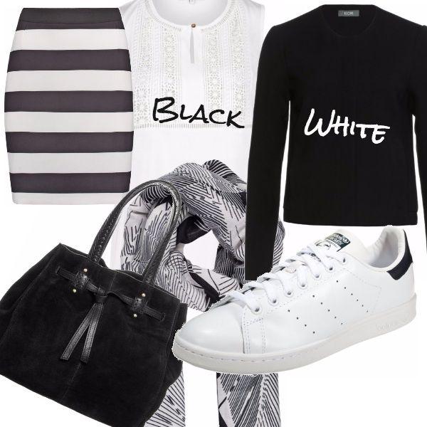 Nero e bianco sono colori classici che non passano mai di moda e il loro bello è che trasformano ogni capo in un pass-par-tout adatto ad andare con qualsiasi cosa!  Anche il più semplice ed economico outfit può diventare di tendenza grazie ai particolari e ai giochi di tonalità!