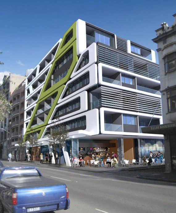 This picture of a Pod apartment building in Sydney is an example of additive architecture. This building is a make up of these pods being added together to create this residential building.