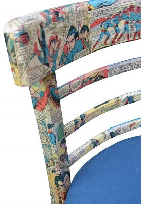Decoupage comic book chair- this would be so cute in a little boy's room!