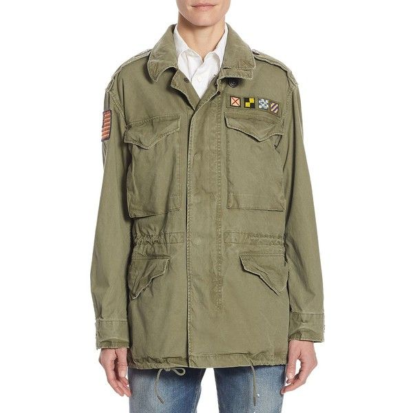Polo Ralph Lauren Canvas Military Jacket (2 235 ZAR) ❤ liked on Polyvore featuring outerwear, jackets, epaulet jacket, polo ralph lauren jacket, military army jacket, field jackets and military style field jacket
