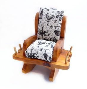 Vintage Handmade Wood Rocking Chair Pin Cushion Thread Spool Holder
