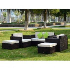 Conjunto muebles de jardin ratan y aluminio 17 piezas for Fabrica de muebles de jardin de aluminio