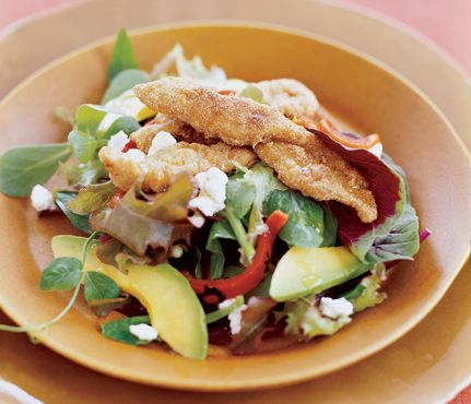 Cornmeal Crusted Chicken Salad- Avocados add a heart-healthy touch to this satisfying salad from executive chef Stephane Beaucamp at Kantina in Newport Beach, California. The Skinny: 467 calories per serving, 19 g fat (4.3 g saturated), 39 g carbs, 5.4 g fiber, 36 g protein. See the recipe.