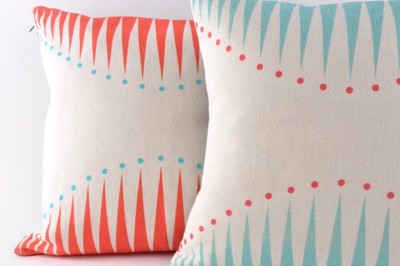 Cushion  Coral Circus Triangles by ButterscotchBeesting on Etsy, £40.00