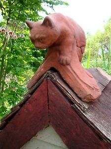 Cat Roof finial 90° angled decorative ridge tile frost proof stone ornament  | eBay