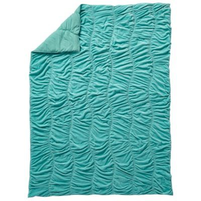"""These velvet quilts are so soft and comfy, we're pretty sure people are going to start using the idiom, """"Snug as a velvet quilt from The Land of Nod"""" (at least, we hope). Aqua quilt and sham features curved, gathered stitching and is available in Twin or Full-Queen.<br /><br /><NEWTAG/><ul><li> Nod exclusive</li><li> Quilt and Sham feature curved, gathered stitching</li><li> Velvet front with cotton sheeting on the back</li><li> Available in Twin or Full-Queen</li><li> For complimentary…"""