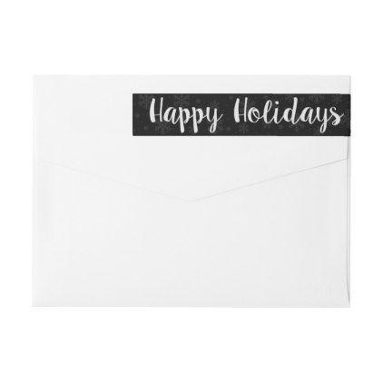 Happy Holidays Snowflake wraparound label - christmas cards merry xmas diy cyo greetings