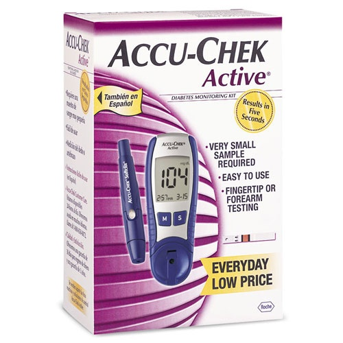 ACCU-CHEK Active Blood Glucose Testing Kit: This Glucometer is a full-featured blood sugar testing system with flexible dosing and the least-painful lancing technology available. It comes with a large display, easy-to-hold design and only 2 buttons, making it a breeze to use!