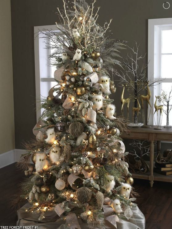 Forest Frost 2012Decor Ideas, Decor Christmas Trees, Owls Trees, White Owls, Christmas Trees Ideas, Christmas Decor, Holiday Decor, Snowy Owl, Theme Christmas Trees