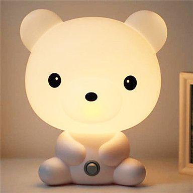 ganske søt Bruin tegneserie dyr nattlys baby rom sover lett soverom skrivebordslampe nattlampe best for gaver 5100001 2017 – kr.123