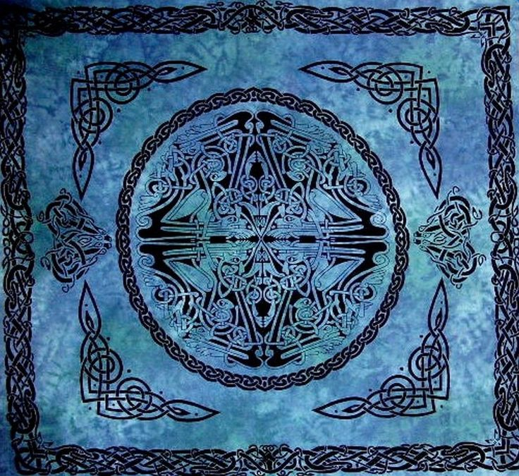 web of life celtic bedspread blue