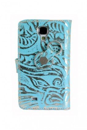 #Samsung #Galaxy #S4 #Piel #Libro #Arabesco #Anticaídas #Azul #Color #Finger360
