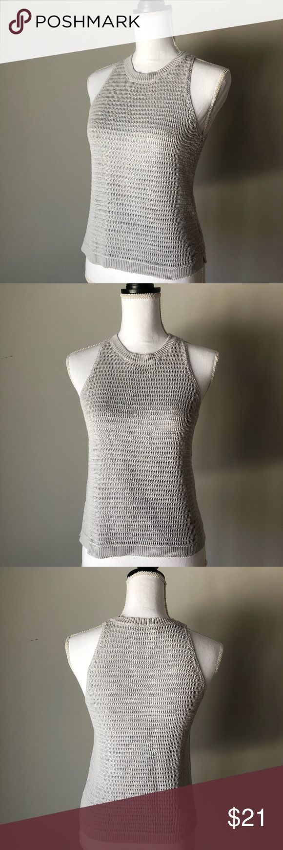 Madewell Crochet sleeveless top/ tank grey Madewell Crochet tank in great condition. No pulls or stains. I've attached pictures of front and back of top from all angles to see detailed crocheting. Pair with rolled up jeans and some cool footwear or shorts/dress/ skirt!. Check out the jeans and dark brown gladiator sandals in my closet to create a nice bundle to save. Madewell Tops