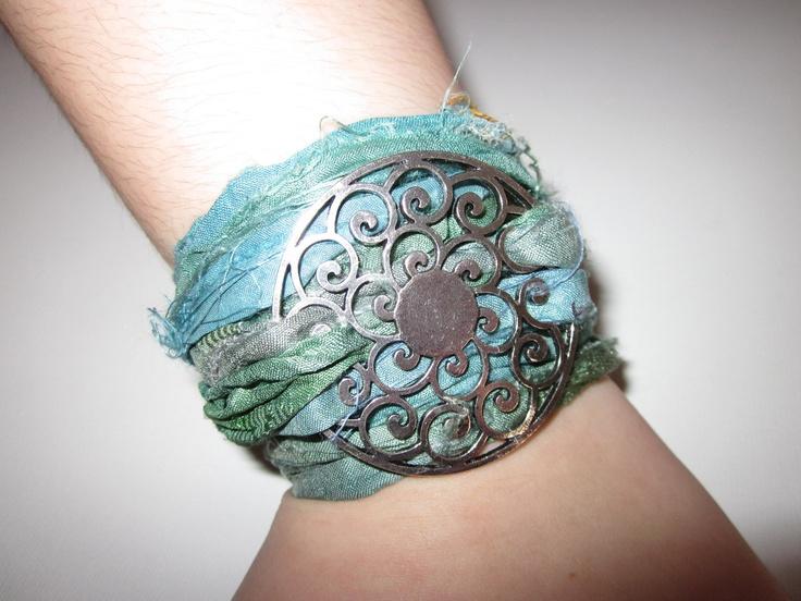 SILK WRAP BRACELET----Sari Silk Bracelet with Large Silver Swirl Pendant---Green. $13.00, via Etsy.