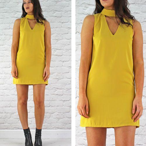 Glamorous Mustard Sleeveless V Polo Neck Dress Available Instore And Online…