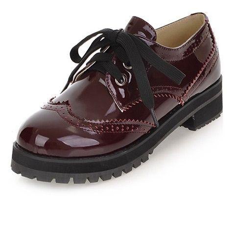 Новое Прибытие Круглого Toe Lace Up Женщины Оксфорды Винтаж Патент кожа Плоским Оксфорд Обувь Для Женщин Дамы Случайные Плоские Туфли оксфорды