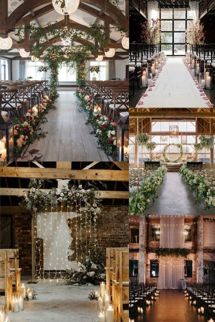 rustic country indoor wedding ceremony arches and aisles