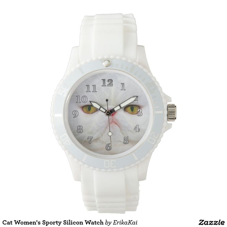 White Cat Women's Sporty Silicon Watch, white or pink.