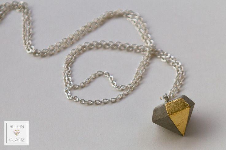 Diamant anh nger aus beton mit blattgold von betonglanz for Blattgold basteln