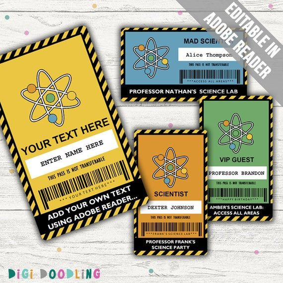 Science Party Vip Pass Science Party Badge Editable Etsy In 2020 Birthday Card Printable Science Party Science Party Printables