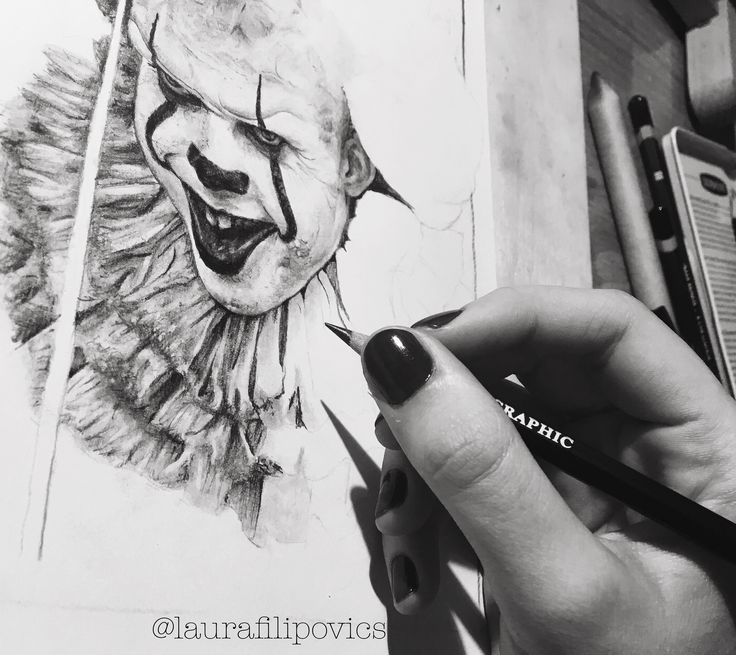 WIP drawing of Bill Skarsgard as Pennywise from Stephen King's IT 🎈🤡
