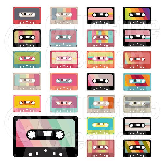 Cassette Tapes Digital Clip Art Clipart Set - Personal and Commercial Use