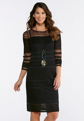 faf5af06b67c Cato Fashions Black Illusion Midi Dress #CatoFashions | Fashion ...