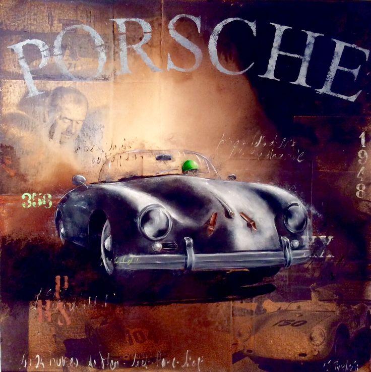 """""""Porsche 353"""" olio su giornale d'epoca su tela  Giusfredi Nicola 2016"""