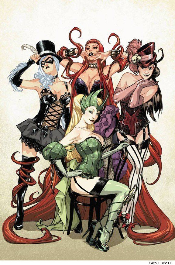 Black Cat, Scarlet Witch, Enchantress and Medusa by Sara Pichelli