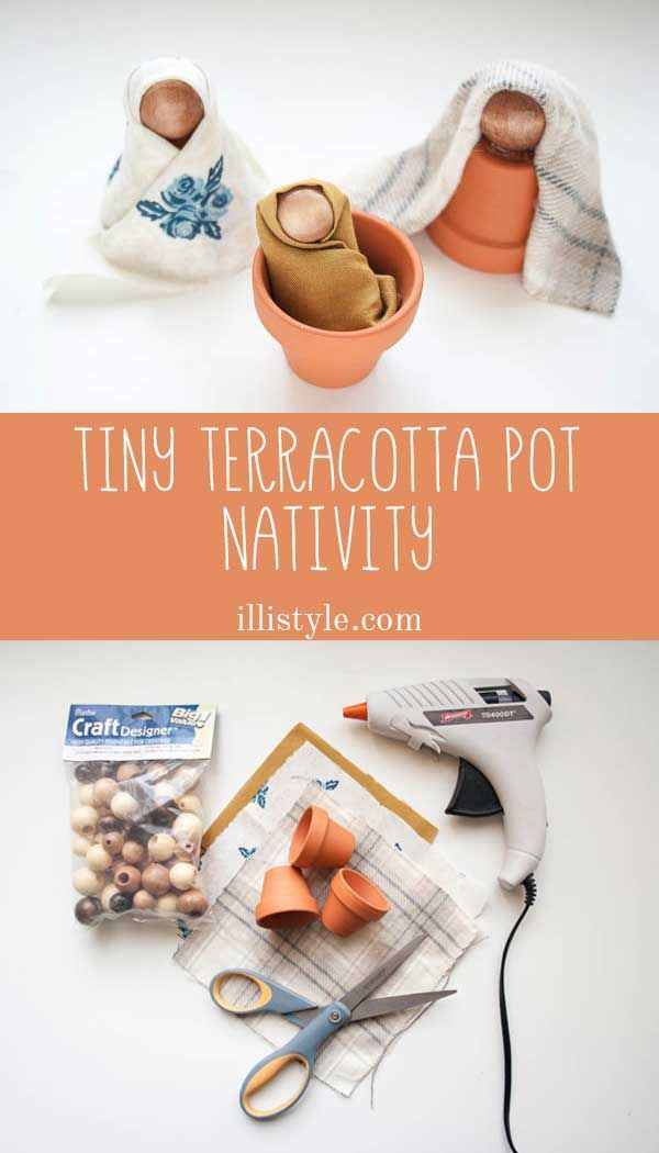 How cute is this tiny terracotta pot nativity from illistyle? It is so easy to make and SO cute! You could have the kids make them as DIY Christmas gifts!