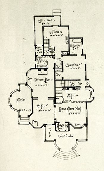 Edwardian floor plan 1st floor.. 1905. Click through for the entire house, plus photos.
