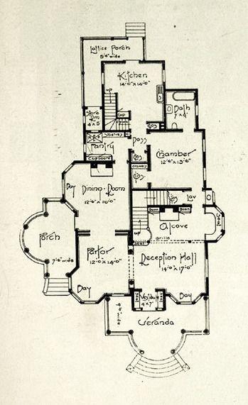 Edwardian floor plan 1st floor.. 1905. Click through for the entire house, plus photos.