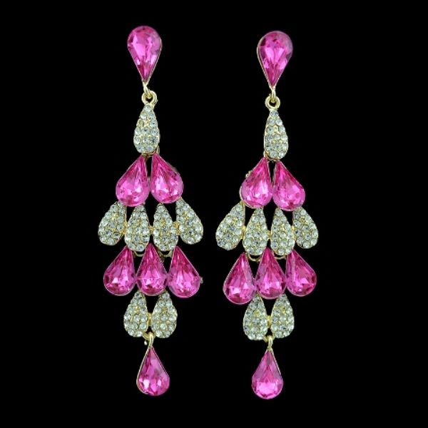 Green Crystal Necklace and Earrings Jewellery Set Waterfall Pendant necklace drop Dangle Earrings Diamante Rhinestone Vintage Art Deco