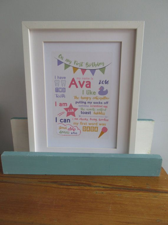 First Birthday personalised Poster Framed 14 x by DollyOliveShop