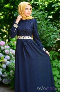 Tesettür Elbise FY 51983-01 Lacivert