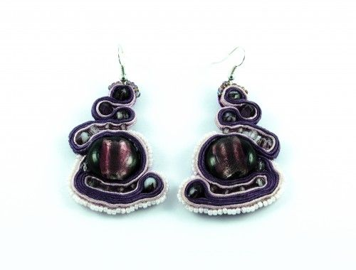 unique plum violet earrings soutache sutasz kolczyki fioletowe śliwkowe stylenaut com