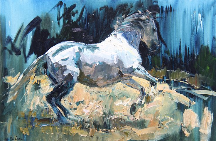 Canter Pirouette, Oil painting of an Andalusian Mare by South African Artist Lynne-Marie Eatwell, based in Cape Town. Equine Art