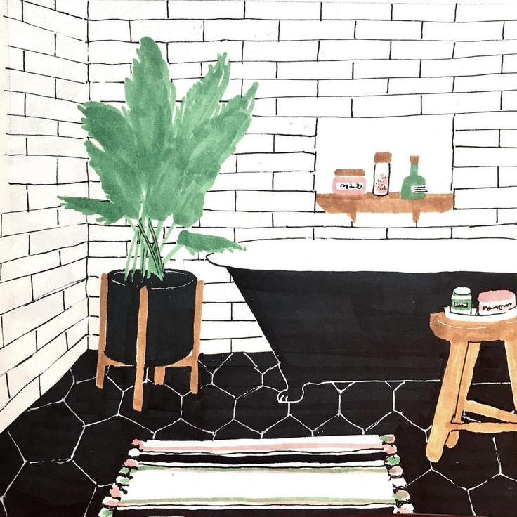 Helise (@scandipan) sur Instagram : «#homeillustration #homedecor #illustration #bathroom #bathroomdrawing #copic #scandipan»